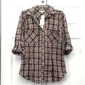 NWT Skies are Blue Tab Sleeve Plaid Top - Size L